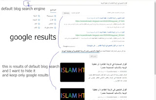 hide default blog search results and keep only google custom search results