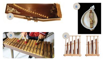 Identifikasikan alat-alat musik pada gambar. Apakah nama alat-alat musik tersebut dan dari mana asalnya?