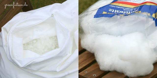 Füllmaterialien für Kissen: Polyesterkugeln und waschbare Bastelwatte