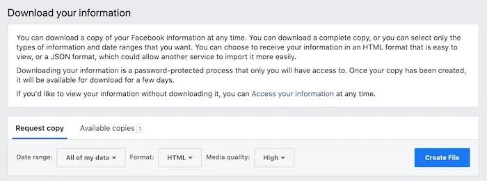 """يمكنك تنزيل جميع بياناتك ، من علامة التبويب """"النسخ المتاحة""""."""