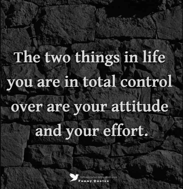 The two things in life you are in total control over are your attitude and your effort. - Billy Cox