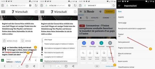tradurre pagine web con app microsoft edge