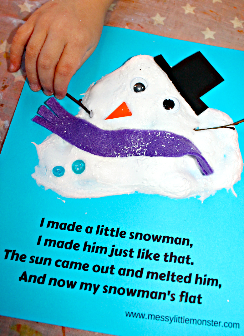 An easy melted snowman kids craft and