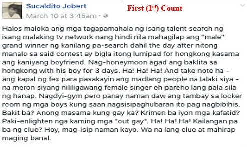 Jobert Sucaldito Facebook post