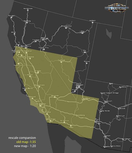 Porównanie obszaru Kalifornii, Nevady oraz Arizony przed przeskalowaniem i po nim