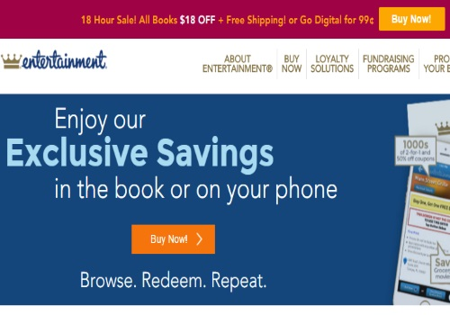 Entertainment Coupon Books Flash Sale $18 Off + Free Shipping