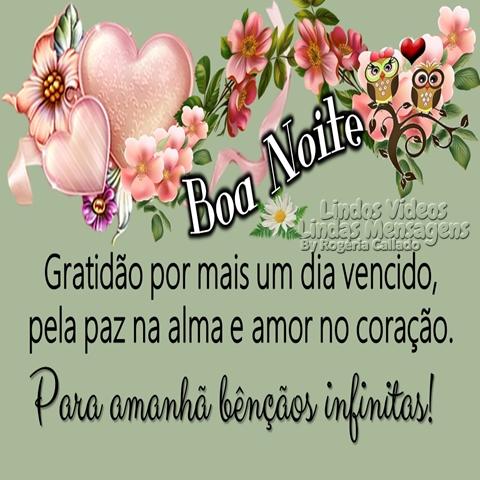 Gratidão por mais um dia vencido,  pela paz na alma e amor no coração.  Para amanhã bênçãos infinitas!  Boa Noite!