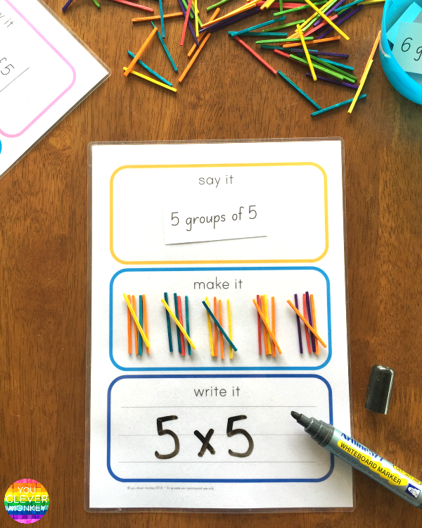 Say It Make It Write It For Maths - learn how to use tally marks, groups of and expanded addition using this FREE printable | you clever monkey