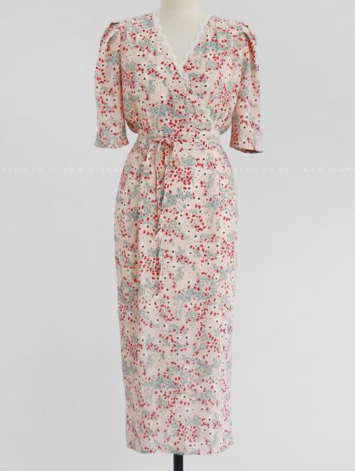 Lace Trim Floral Tie-Waist Dress