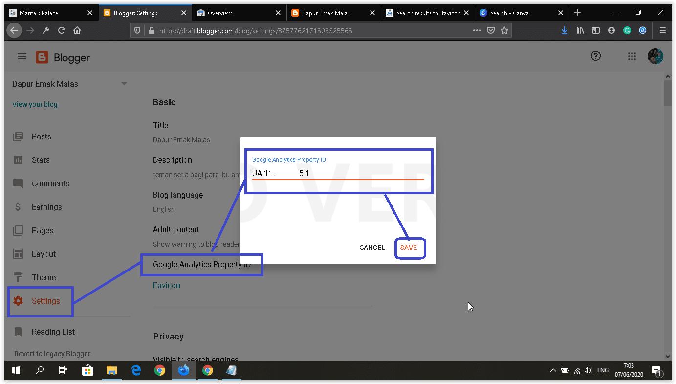 cara memasang google analytics kode pelacakan di setting blog