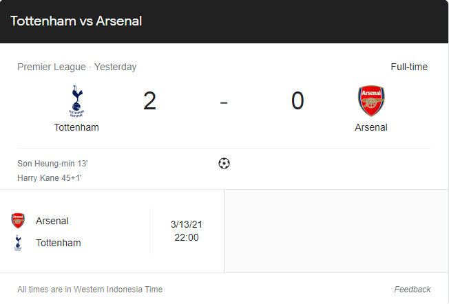 Hasil Liga Inggris : Tottenham Vs Arsenal