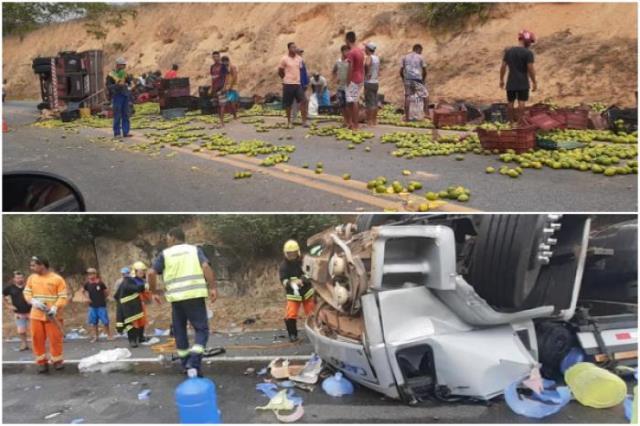 Dois graves acidentes foram registrados na BR-116, em Jaguaquara