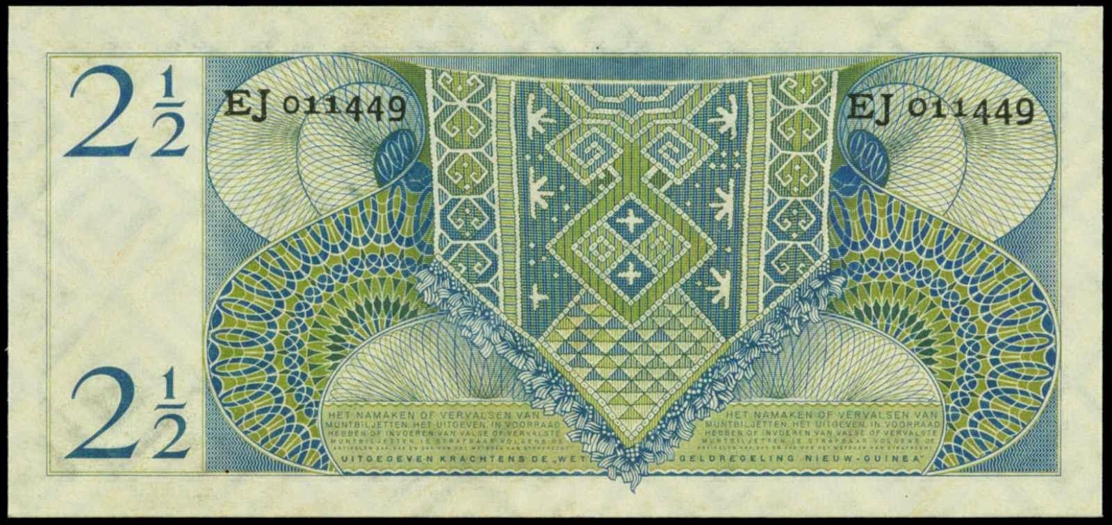 Netherlands New Guinea paper money 2 1/2 Gulden note 1954