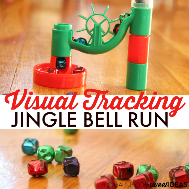 How fun is this Jingle Bell Marble Run visual tracking activity for Christmas play!