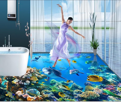 3D bathroom floor designs - 3D flooring 2017