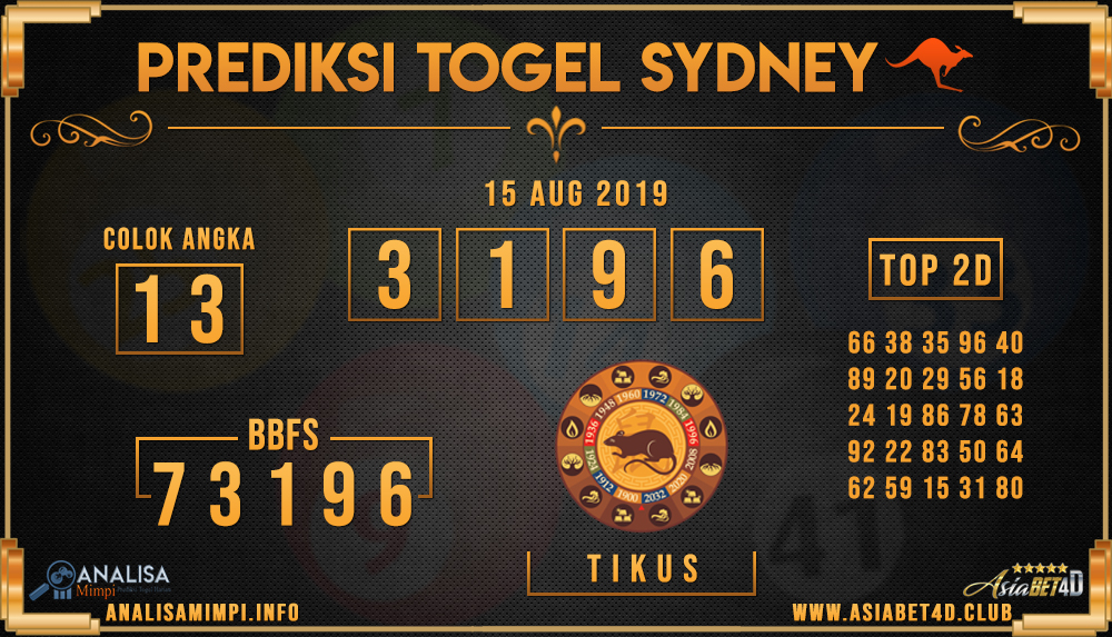 PREDIKSI TOGEL SYDNEY ASIABET4D 15 AUG 2019