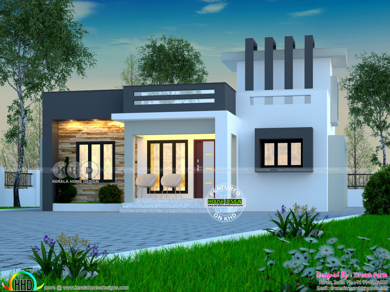 Beautiful house under 1000 square feet kerala home for Square house design