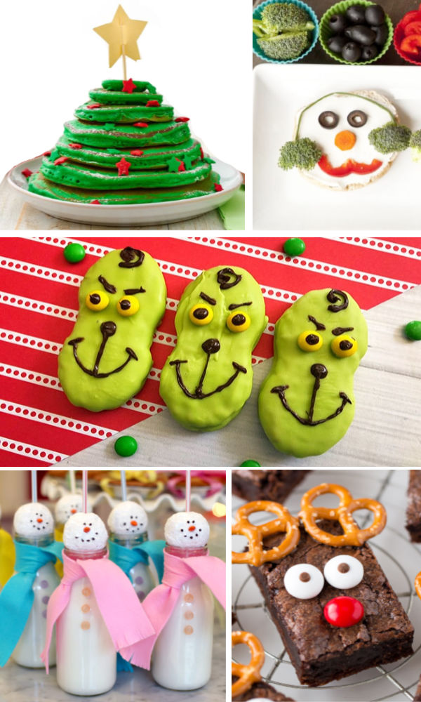 Fun & creative holiday food ideas for kids!  These treats are great for class parties, and the breakfast ideas are too cute! #holidayfood #holidayfoodideas #holidayfoodforkids #holidayfoodchristmas #holidayparty #holidaypartyfood #christmaspartyfood #christmasfood #christmastreats #christmastreatsforschoolparties #funfoodideasforkids #growingajeweledrose #activitiesforkids