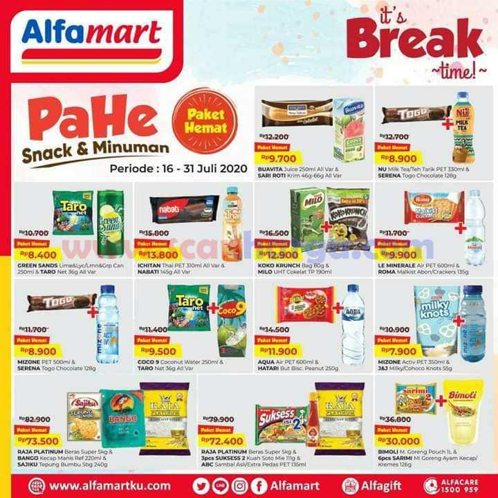 Promo Alfamart PAHE Paket Hemat Snack dan Minuman 16 - 31 Juli 2020