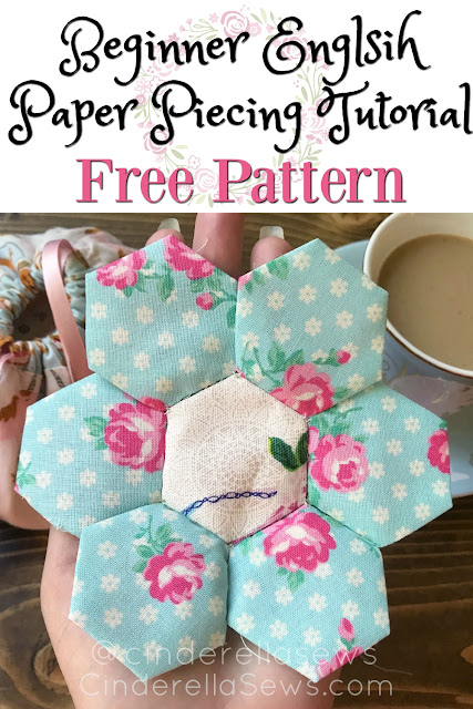 Beginner English Paper Piecing tutorial of how to sew hexies! This video tutorial and free pattern is the first step in my beginner quilting series where we will be making a cute, hexie flower mug rug! #quilting #sewing #handsewing #epp #englishpaperpiecing #quilts #sewingproject #sewingpattern