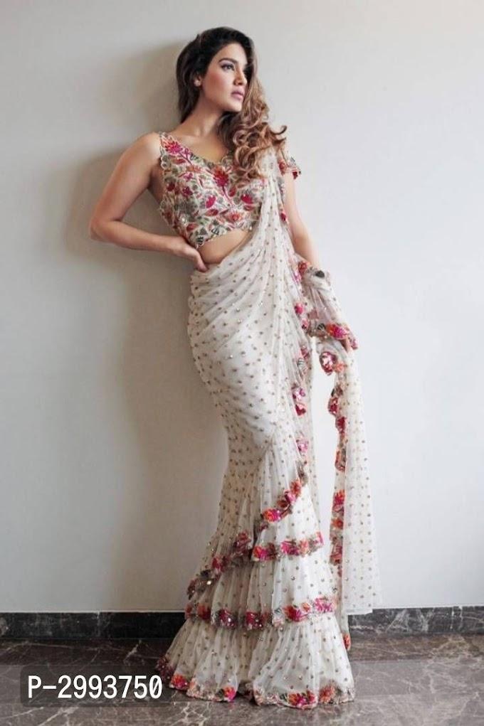 Designer White Georgette Embroidered Saree
