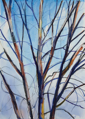 watercolor painting of tree in autumn