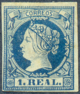 Spain 1860-1861, 1 Real Stamp, Queen Isabella II