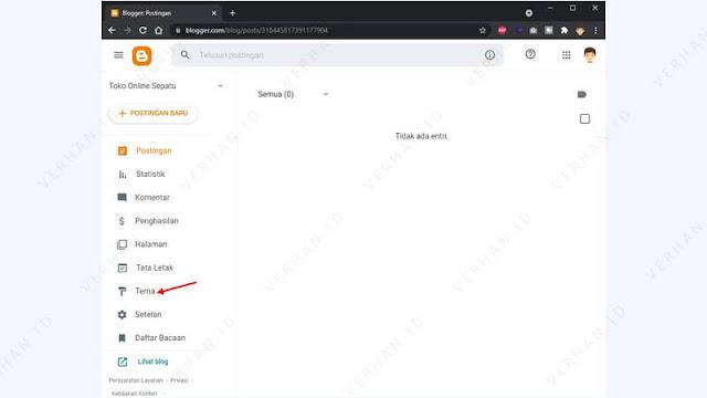 menu pengaturan tema blogspot