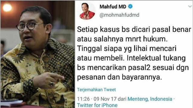 Fadli Zon Ungkit Pernyataan Lawas Mahfud MD soal Pasal Pesanan, 'Silakan Nilai Sendiri'