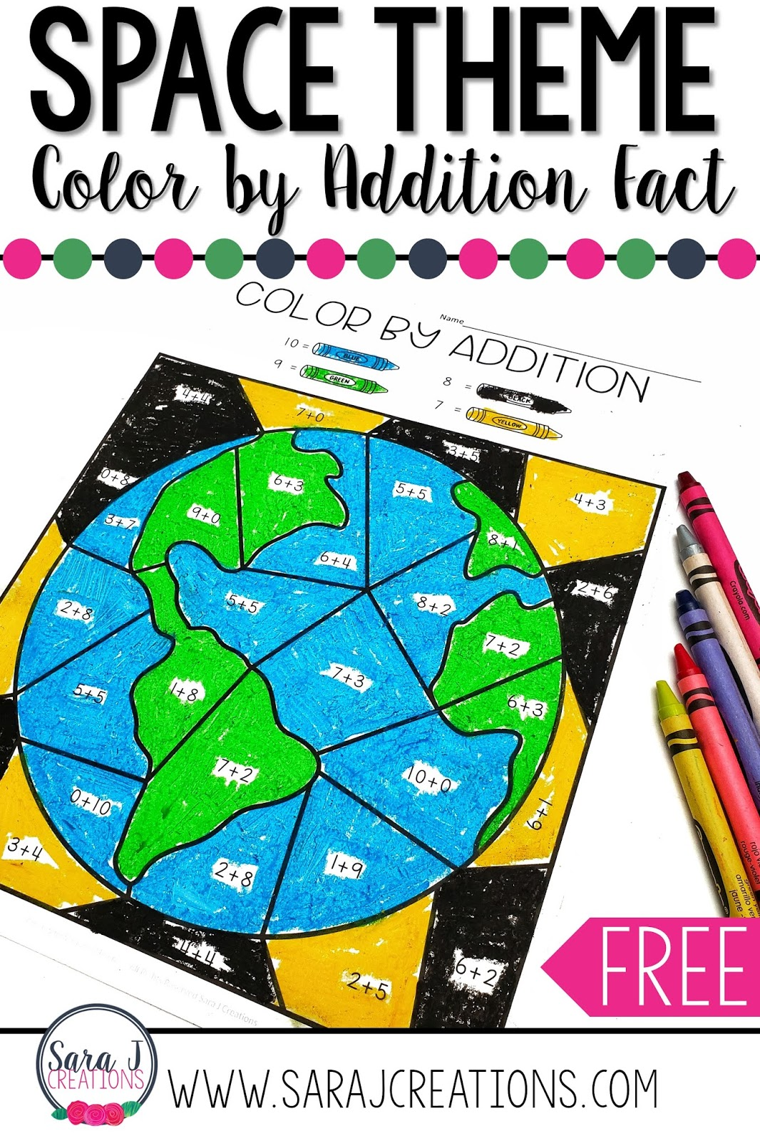 hight resolution of Color by Addition Free Space Themed Printable   Sara J Creations