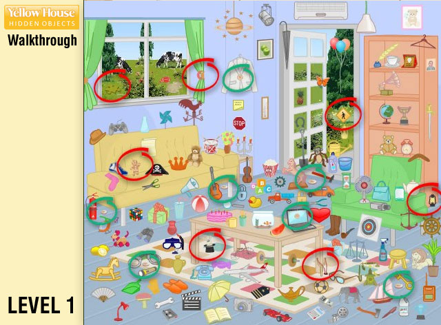 Yellow House Hidden Objects Level 1