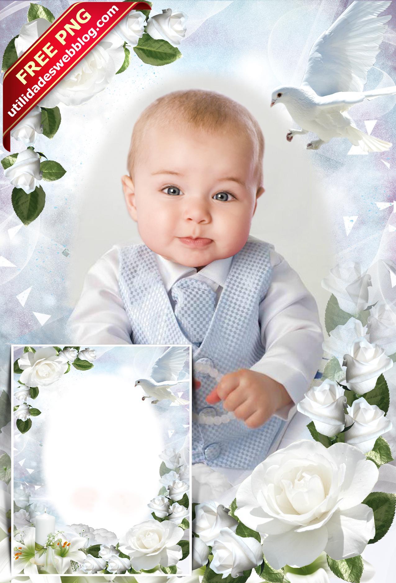 Free catholic christening photoframe