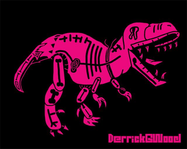 t-rex art artwork pink black surreal weird cool awesome