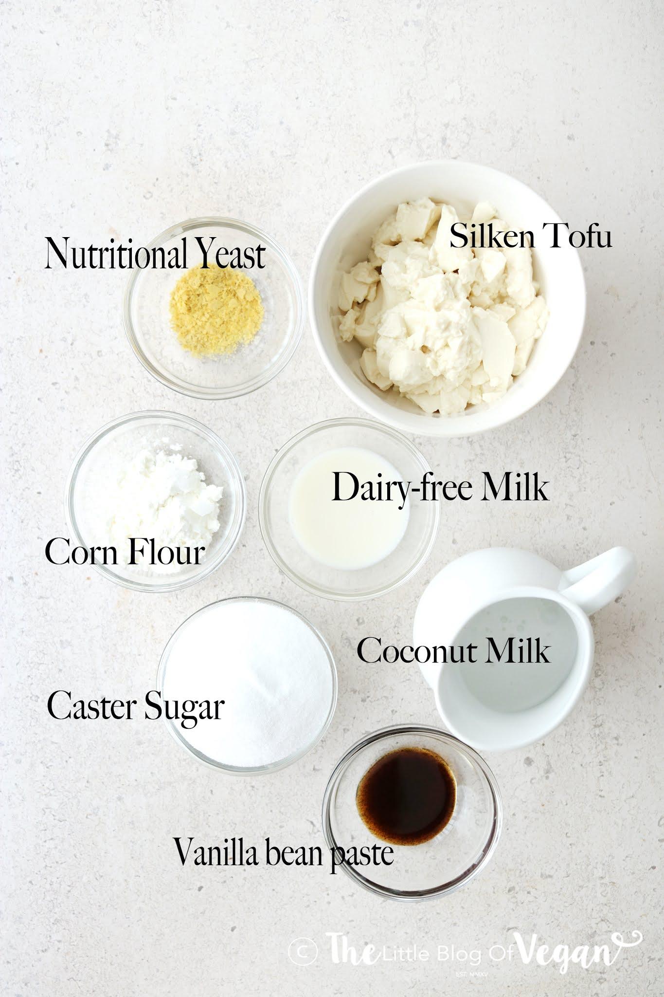 Ingredients for a creme brûlée