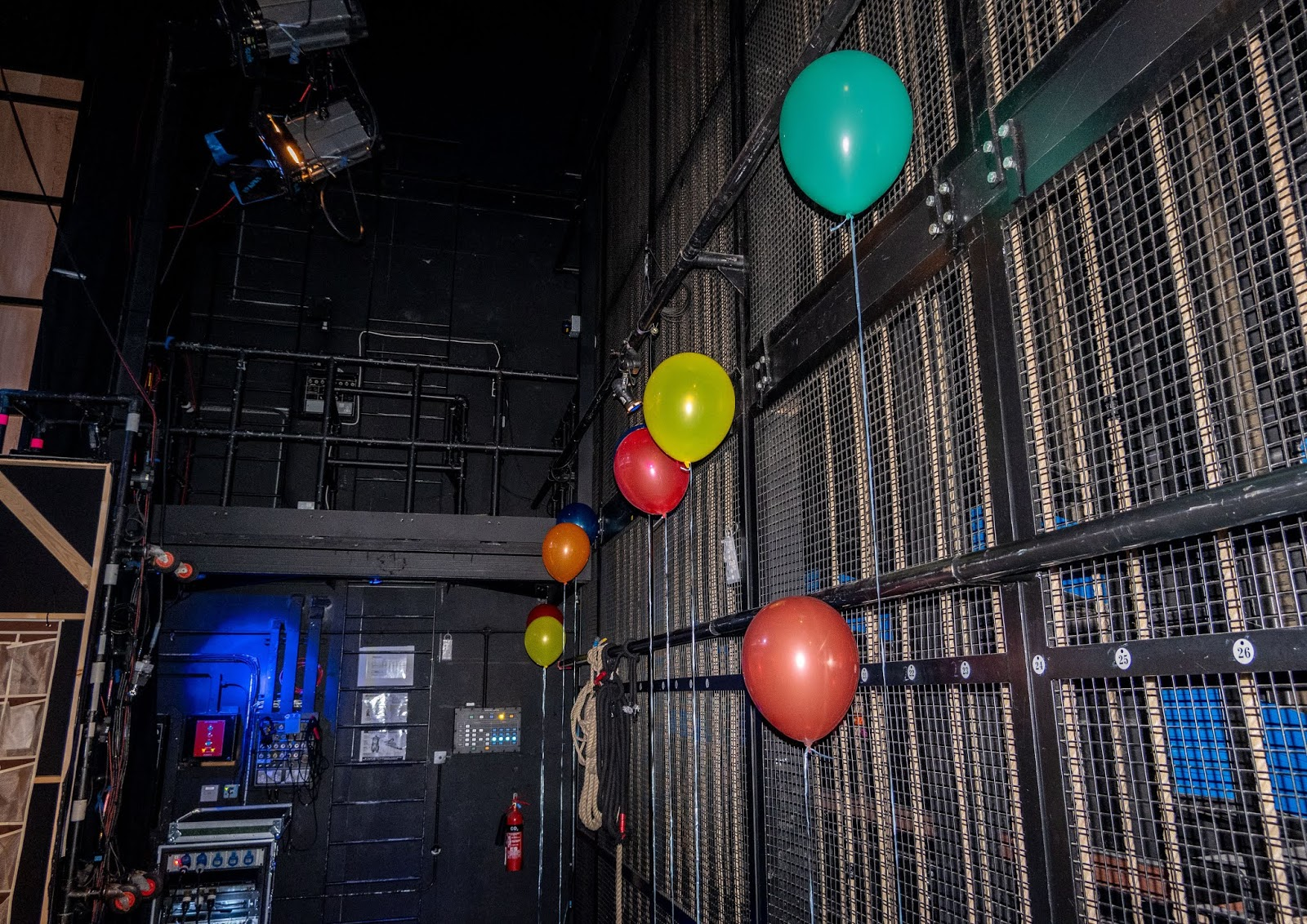 Balloons at the side of the Marlowe stage