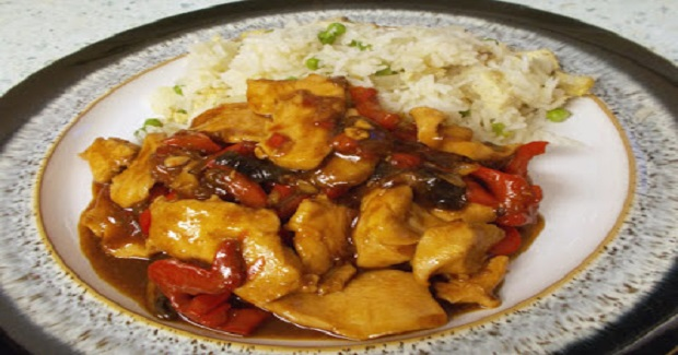 Sticky Hoisin Chicken And Red Pepper With Onion Rice Recipe