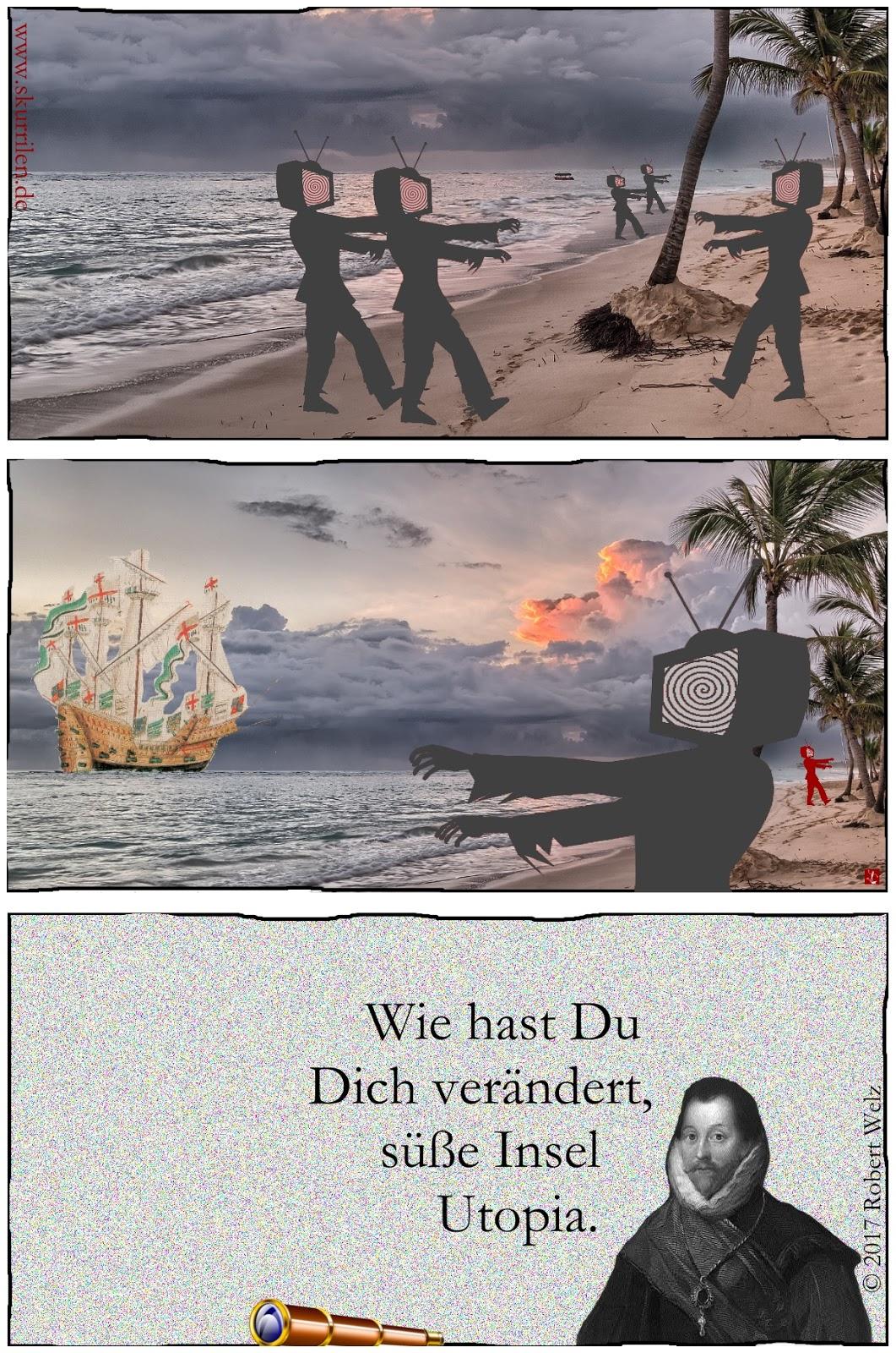 Fernseh-Fantasy-Satire im historischen Collage-Comic mit Königin & Pirat. Die Insel Utopia hat sich verändert.