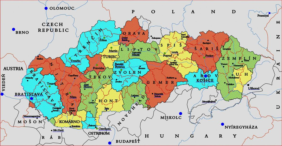 Eslováquia | Mapas Geográficos da Eslováquia
