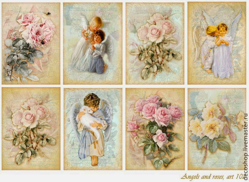 Vintage Angels with Roses: Free Printable Labels.