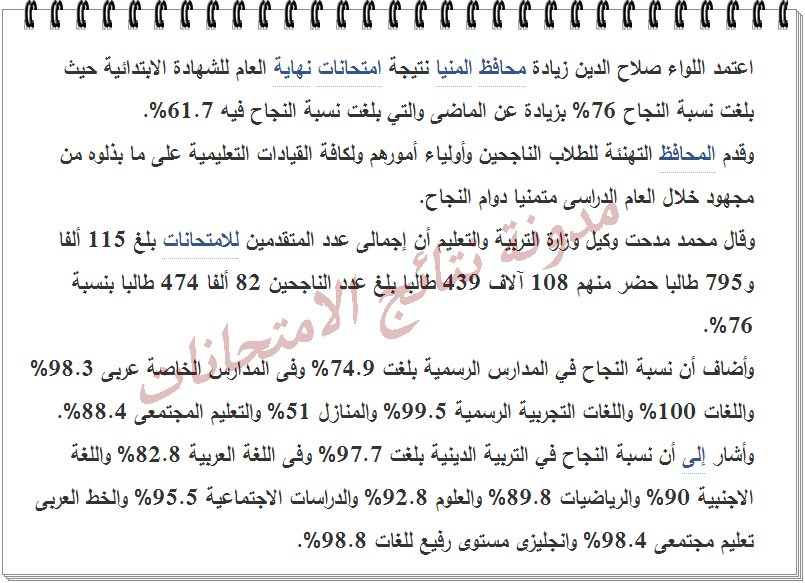 الأن نتيجة الصف السادس الابتدائى محافظة المنيا 2014 الترم الثانى - مديرية التربيه والتعليم