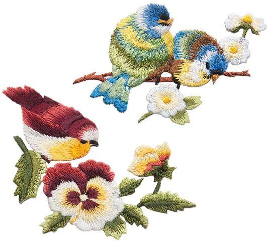 Hình thêu những chú chim trên cành hoa