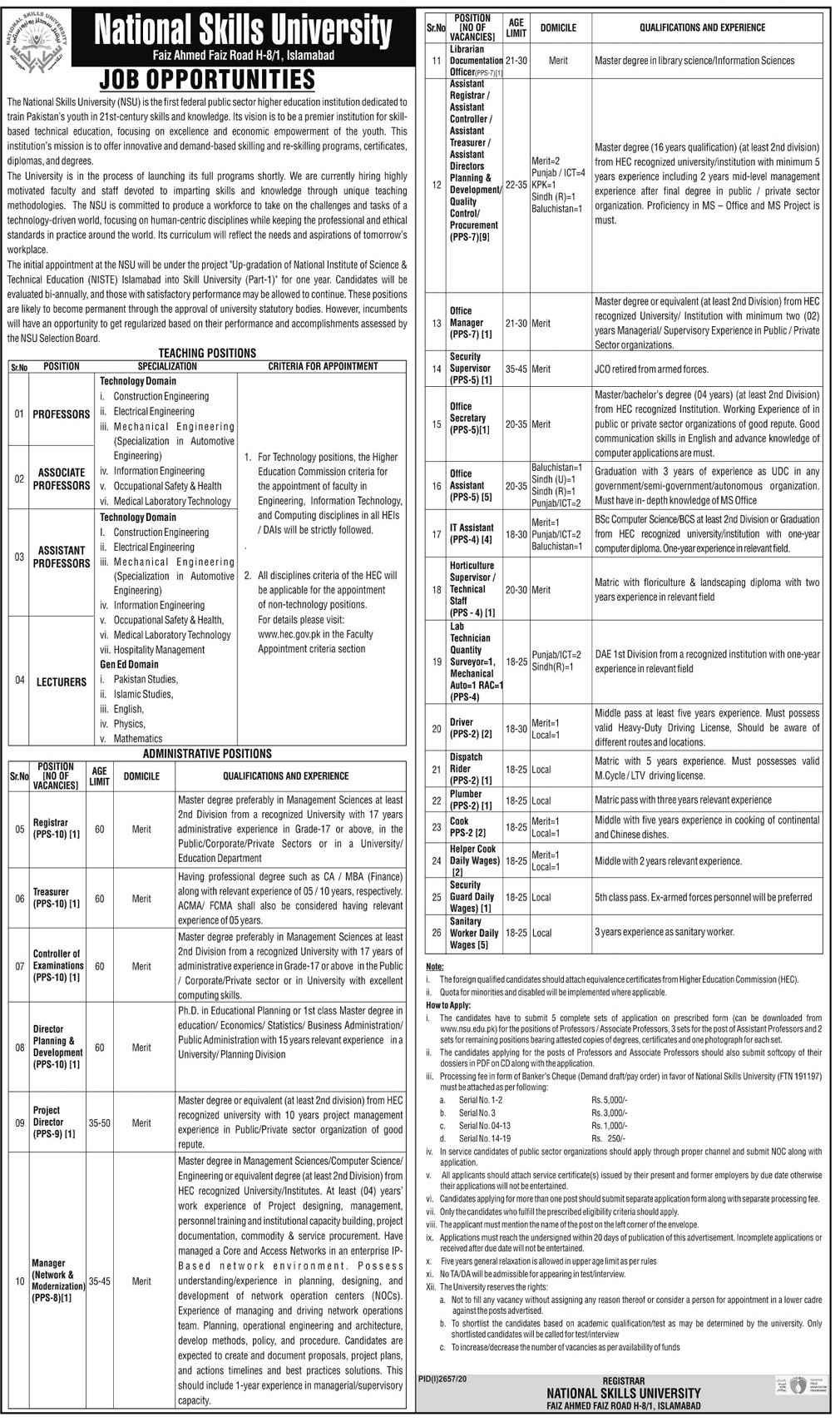 National Skills University NSU Jobs 2020 for Assistant Controller, Assistant Treasurer, Office Assistant, IT Assistant