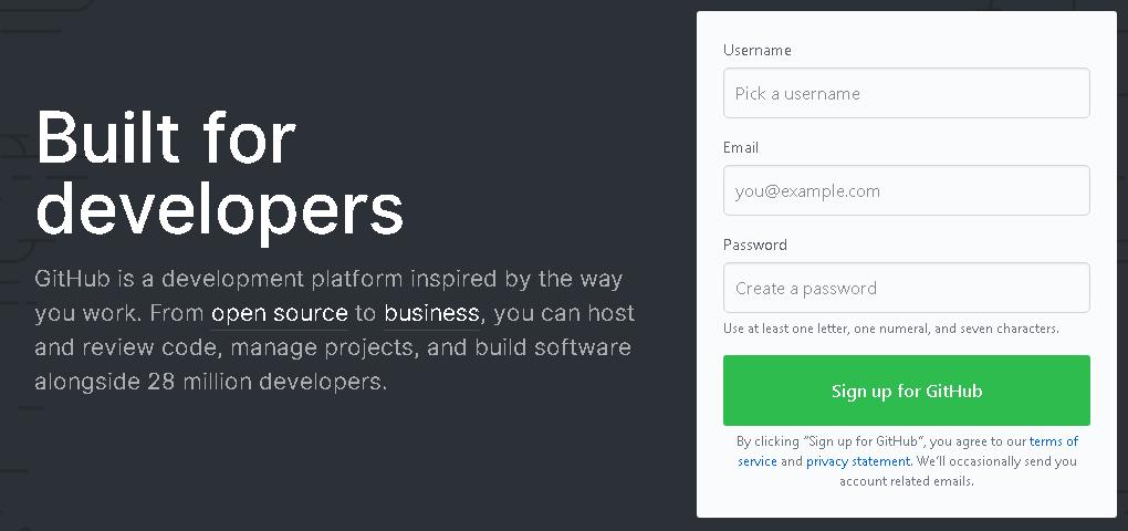 Cara mudah mendaftar di GitHub. GitHub homepage signup
