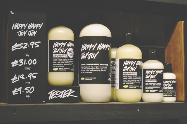 Happy Happy Joy Joy conditioner bottles