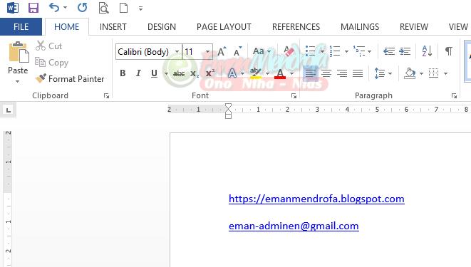 Cara menonaktifkan autoformat hyperlink link website dan alamat email
