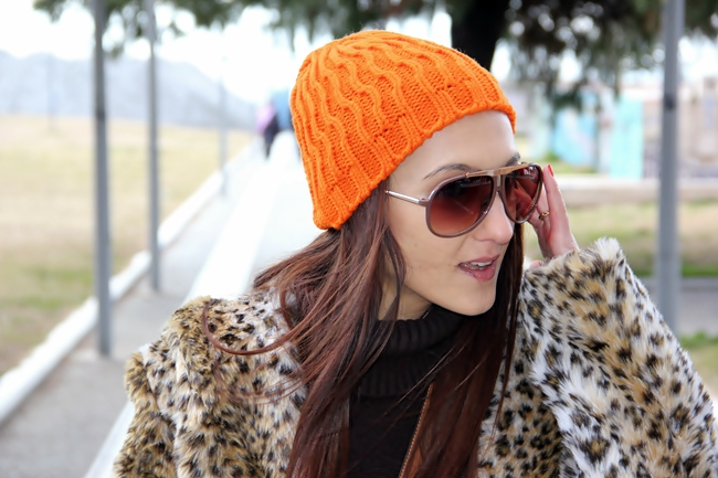 orange knitted beanie hat
