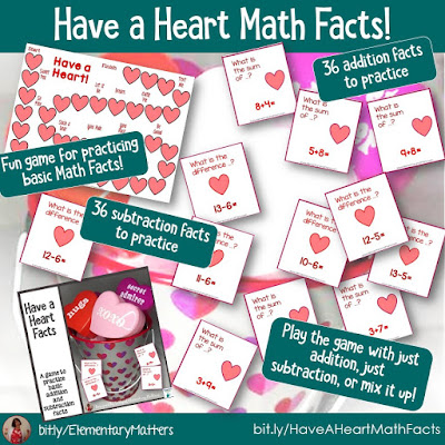 https://www.teacherspayteachers.com/Product/Addition-and-Subtraction-Facts-Valentine-Game-491775?utm_source=blog%20post%20Valentine%27s%20Day&utm_campaign=Valentine%20Have%20a%20Heart%20Math%20Facts