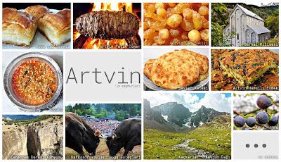 Artvin'in meşhur şeylerini gösteren resimlerden oluşan kolaj
