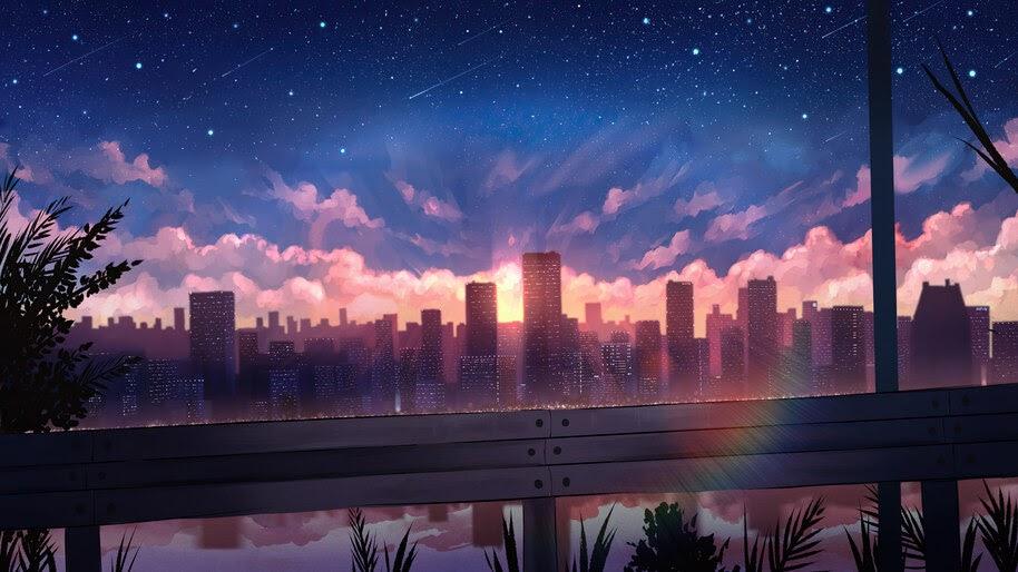 Anime, City, Sunset, Scenery, Buidings, 4K, #6.1034