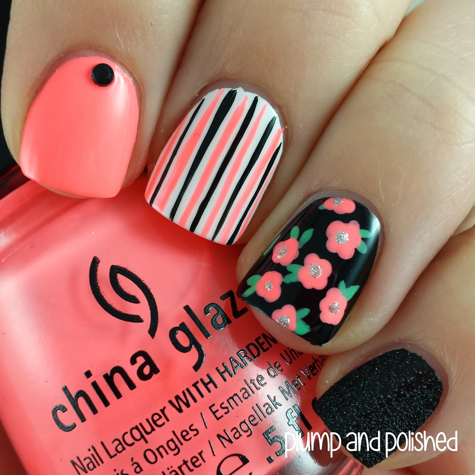 Floral Nail Art: {Guest Post} Plump & Polished Floral Nail Art Look!
